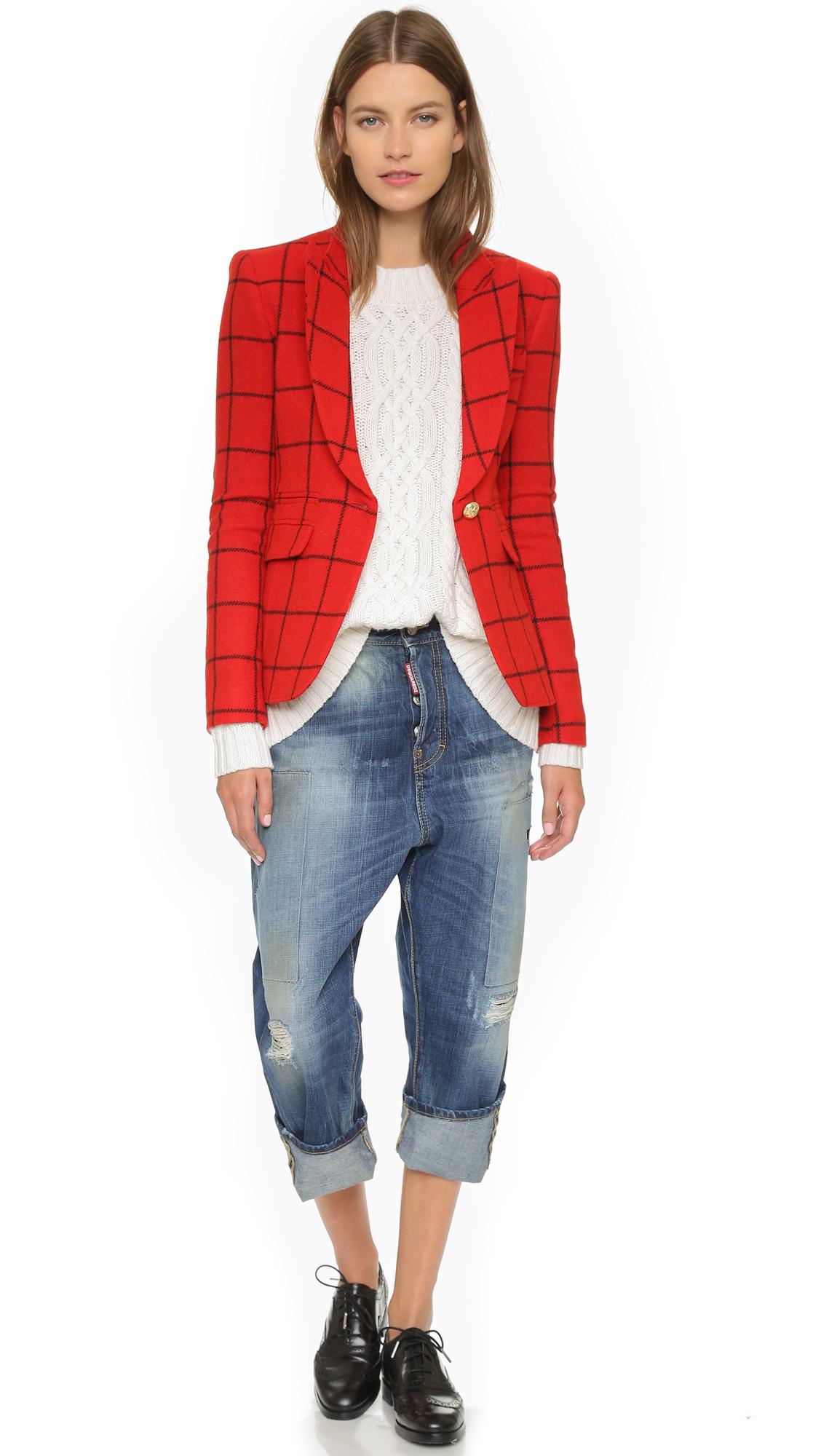 Lyst smythe peaked lapel blazer in red for Smythe designer