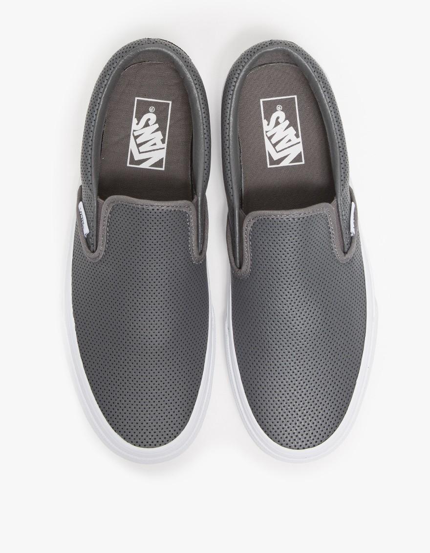 silver leather slip on vans