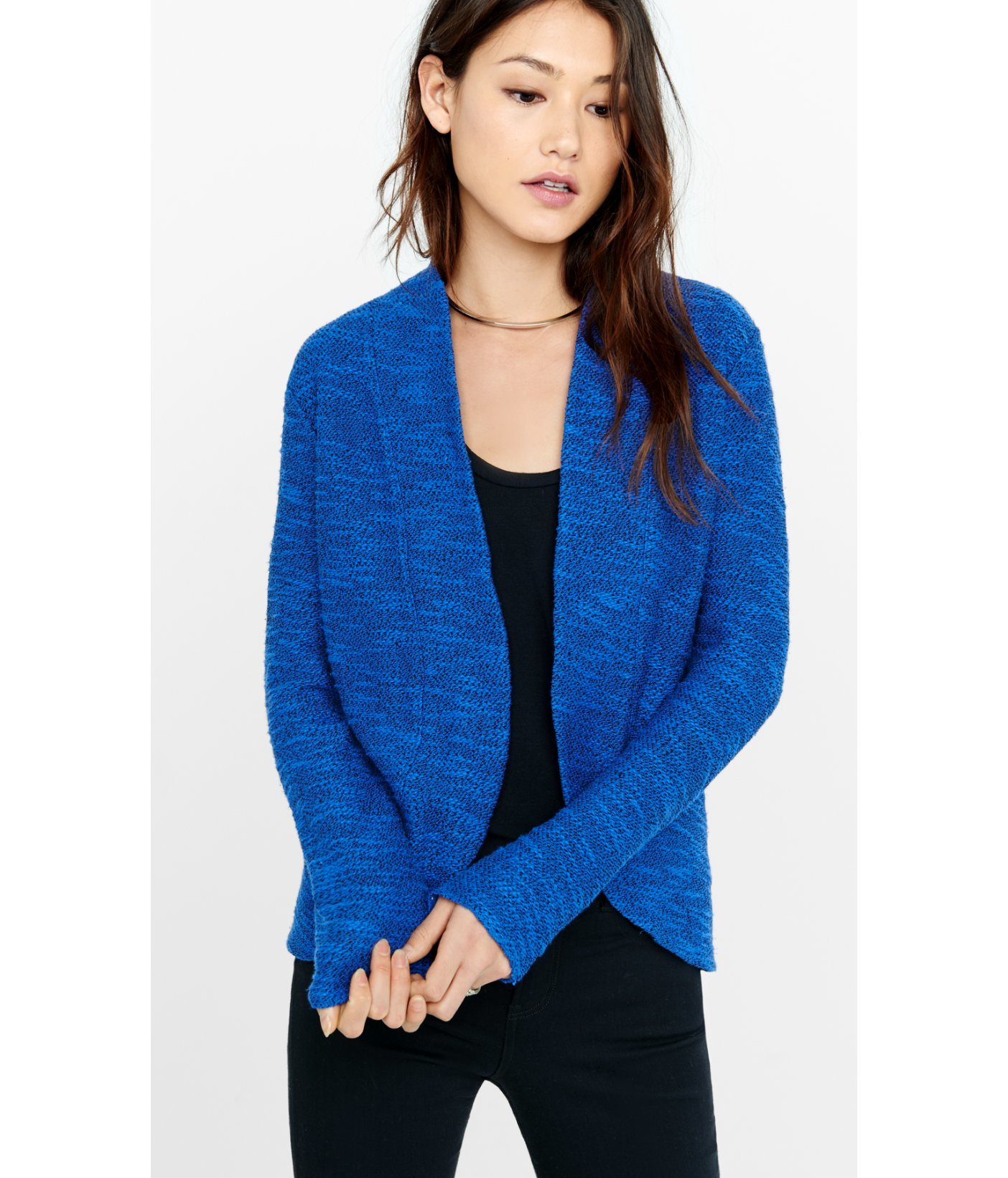 Lyst - Express Textured Knit Cover-up in Blue