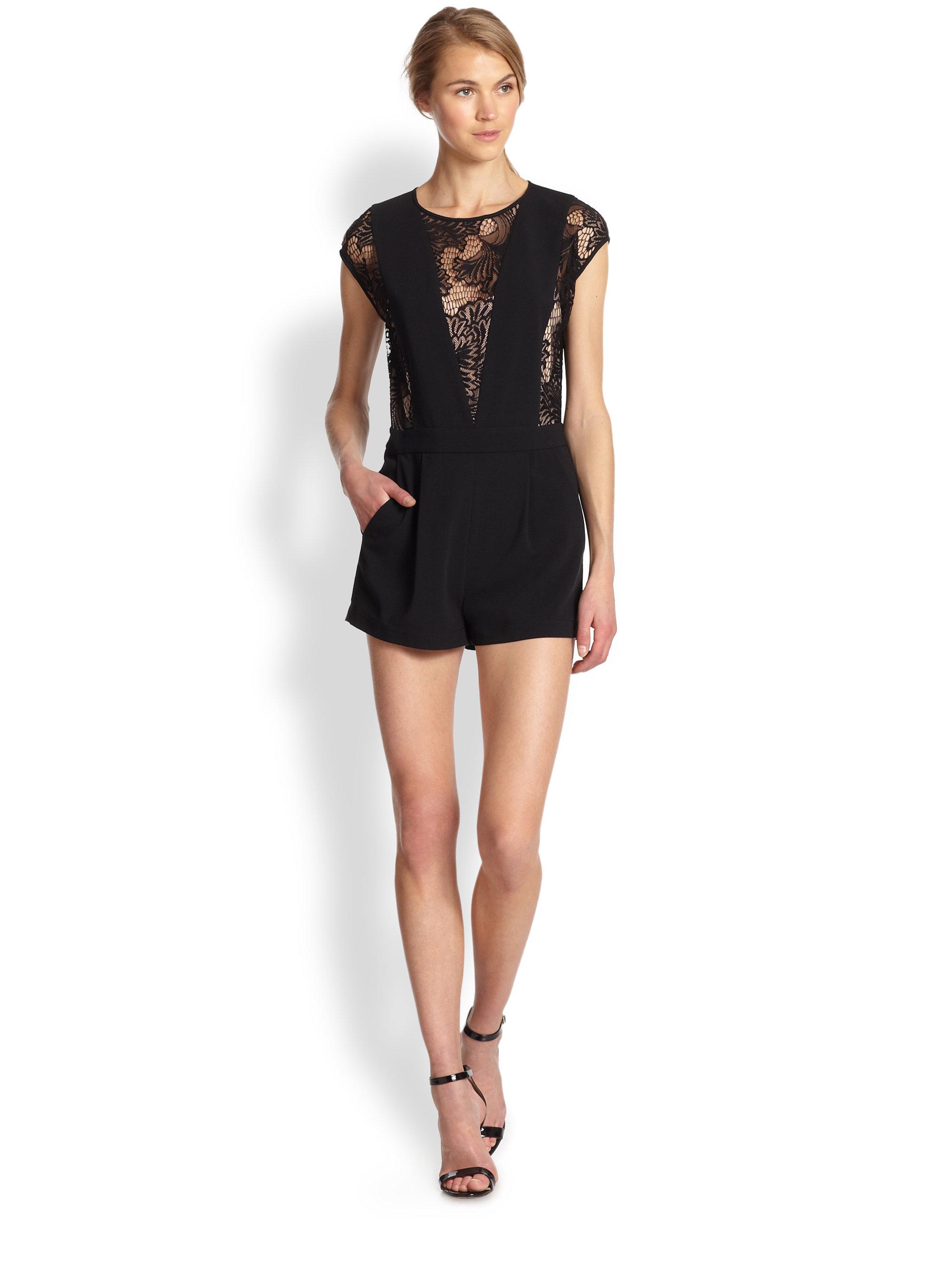 Black Lace Short Jumpsuit - Breeze Clothing