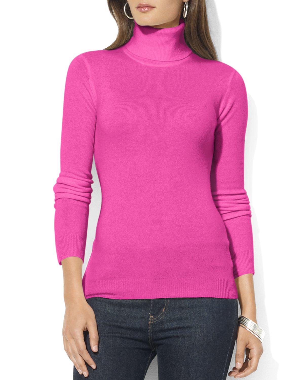 Ralph lauren Lauren Zoe Silk-cotton Turtleneck Sweater in Pink | Lyst