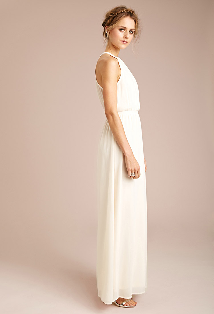 Lyst - Forever 21 Chiffon Halter Maxi Dress in Natural 76f47b86ff259