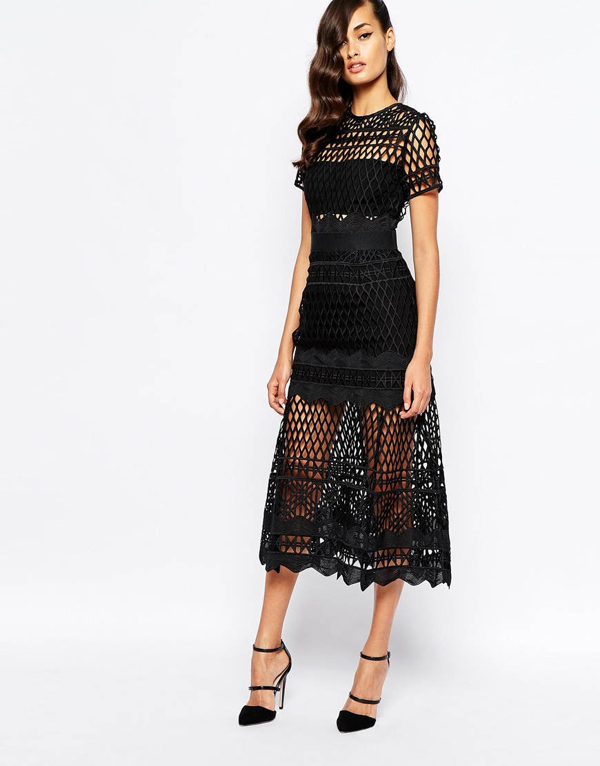 Self Portrait Cut Out Lace Layered Dress In Black Lyst
