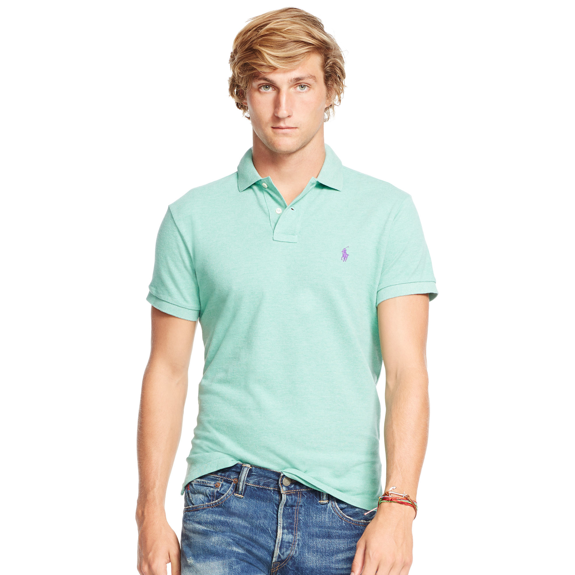 Polo ralph lauren custom fit mesh polo shirt in blue for for Custom polo shirts canada