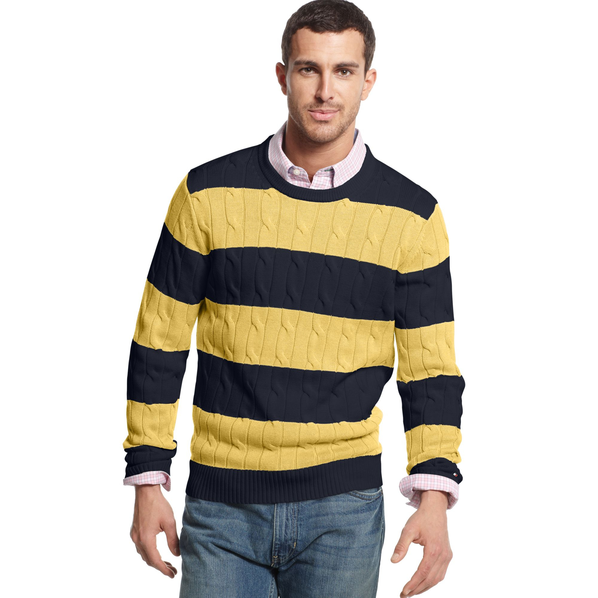 Tommy hilfiger Connor Cable Stripe Crew Neck Sweater in Blue for ...