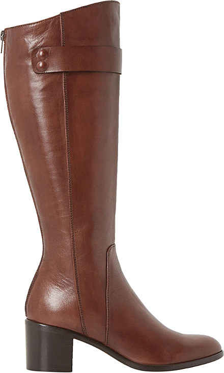 dune black tommie leather knee high boots in brown lyst