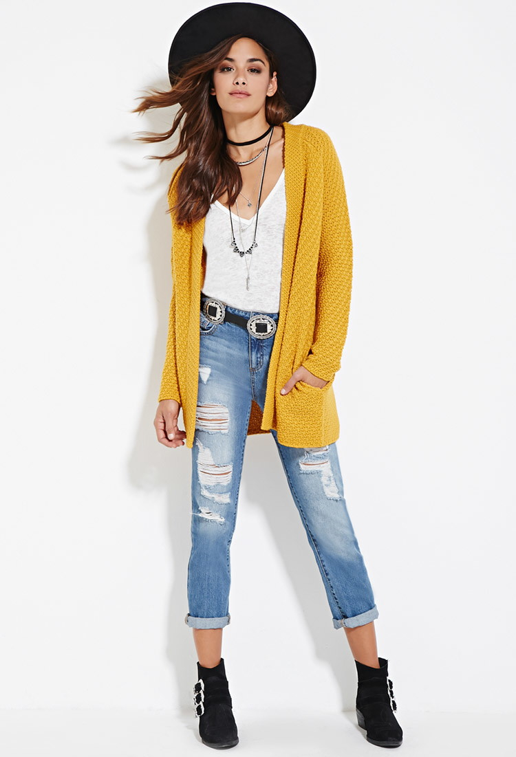 Forever 21 Longline Open-front Cardigan in Yellow | Lyst