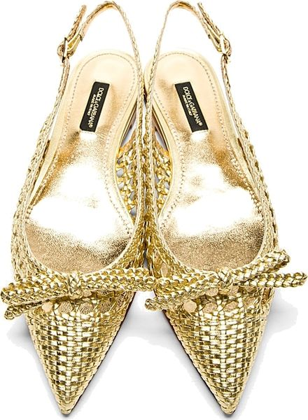 Dolce Amp Gabbana Gold Braided Leather Slingback Flats In