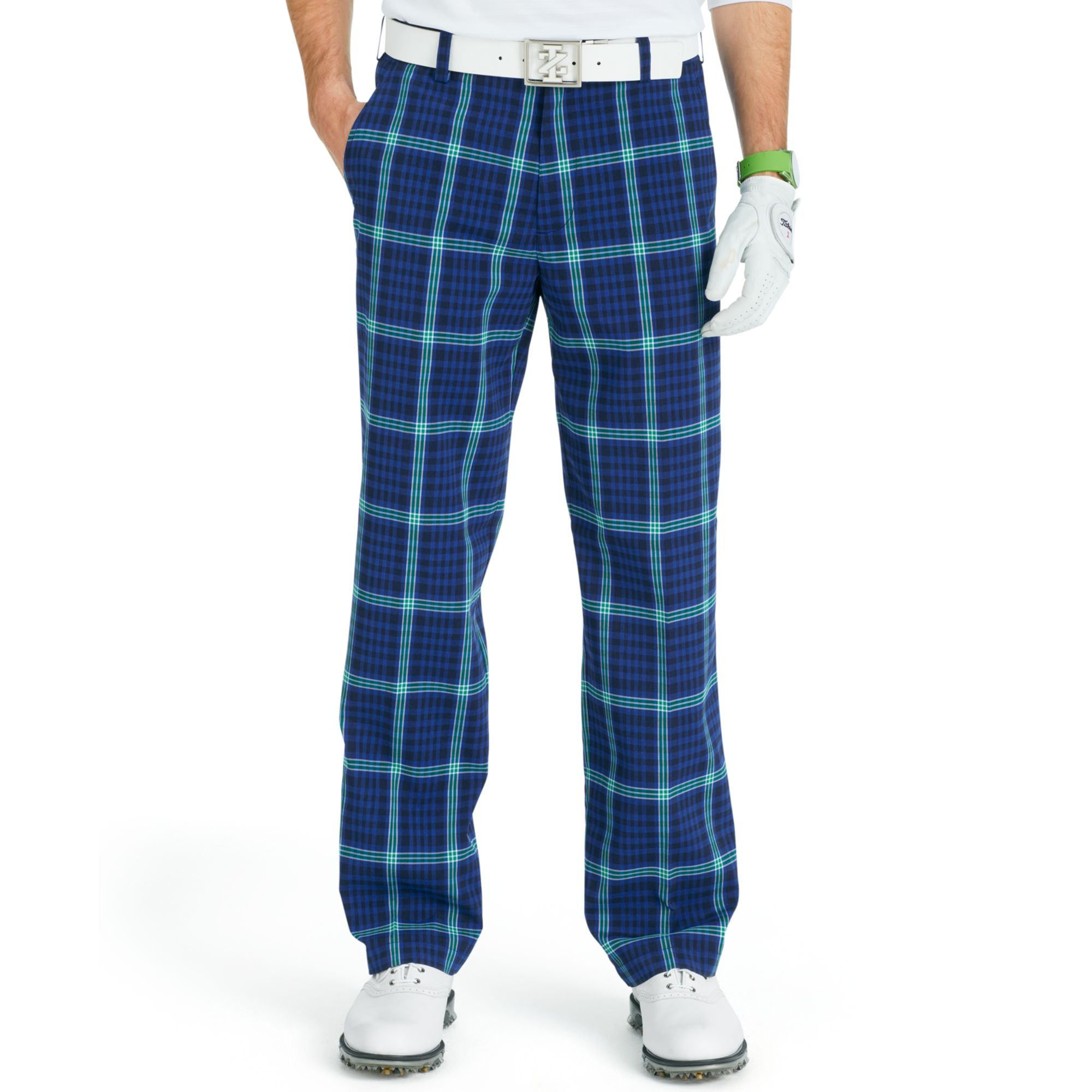 Izod Plaid Performance Golf Pants in Blue for Men ...
