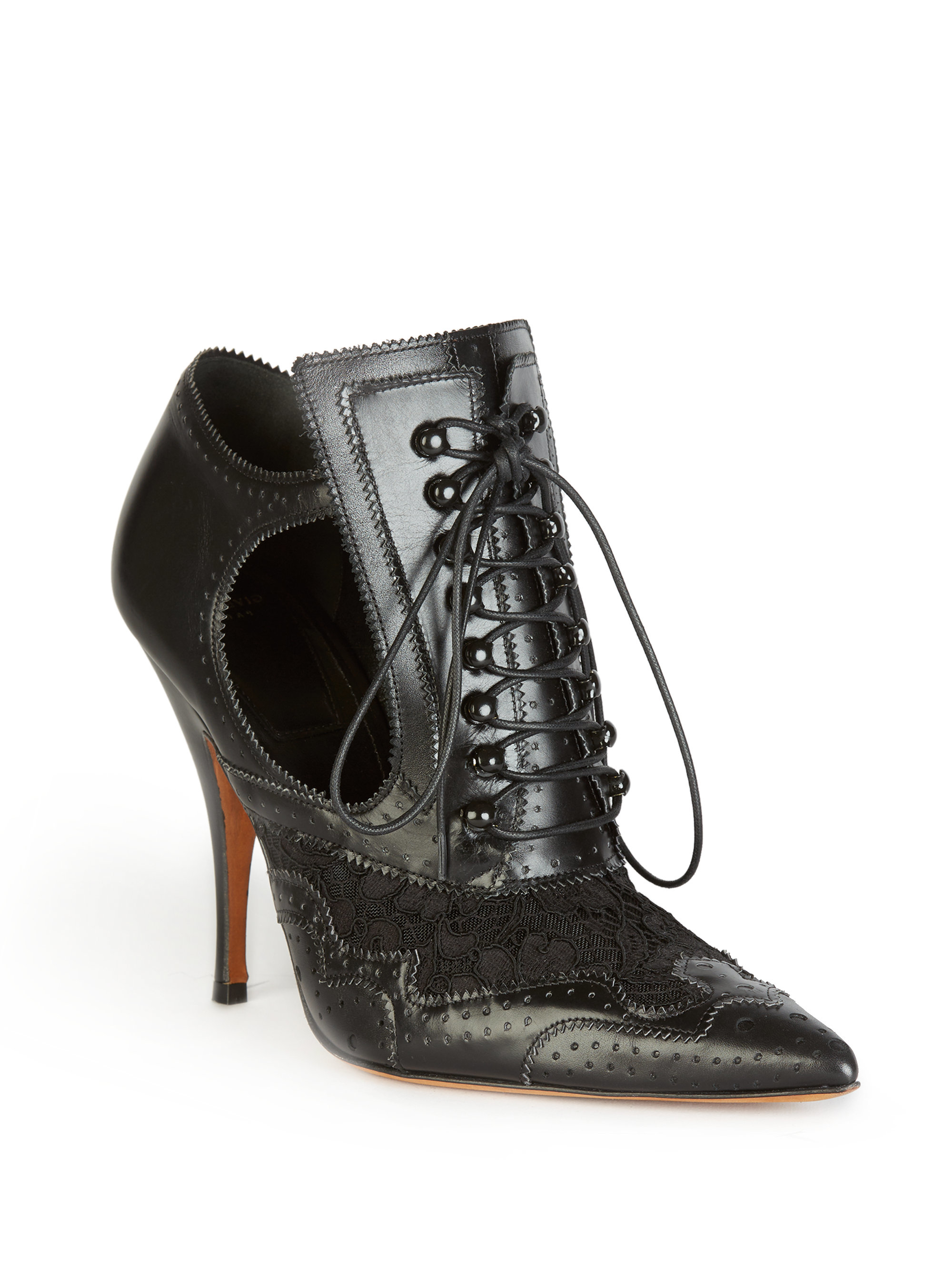 be1c1d255 Givenchy Leather & Lace Lace-up Cutout Booties in Black - Lyst