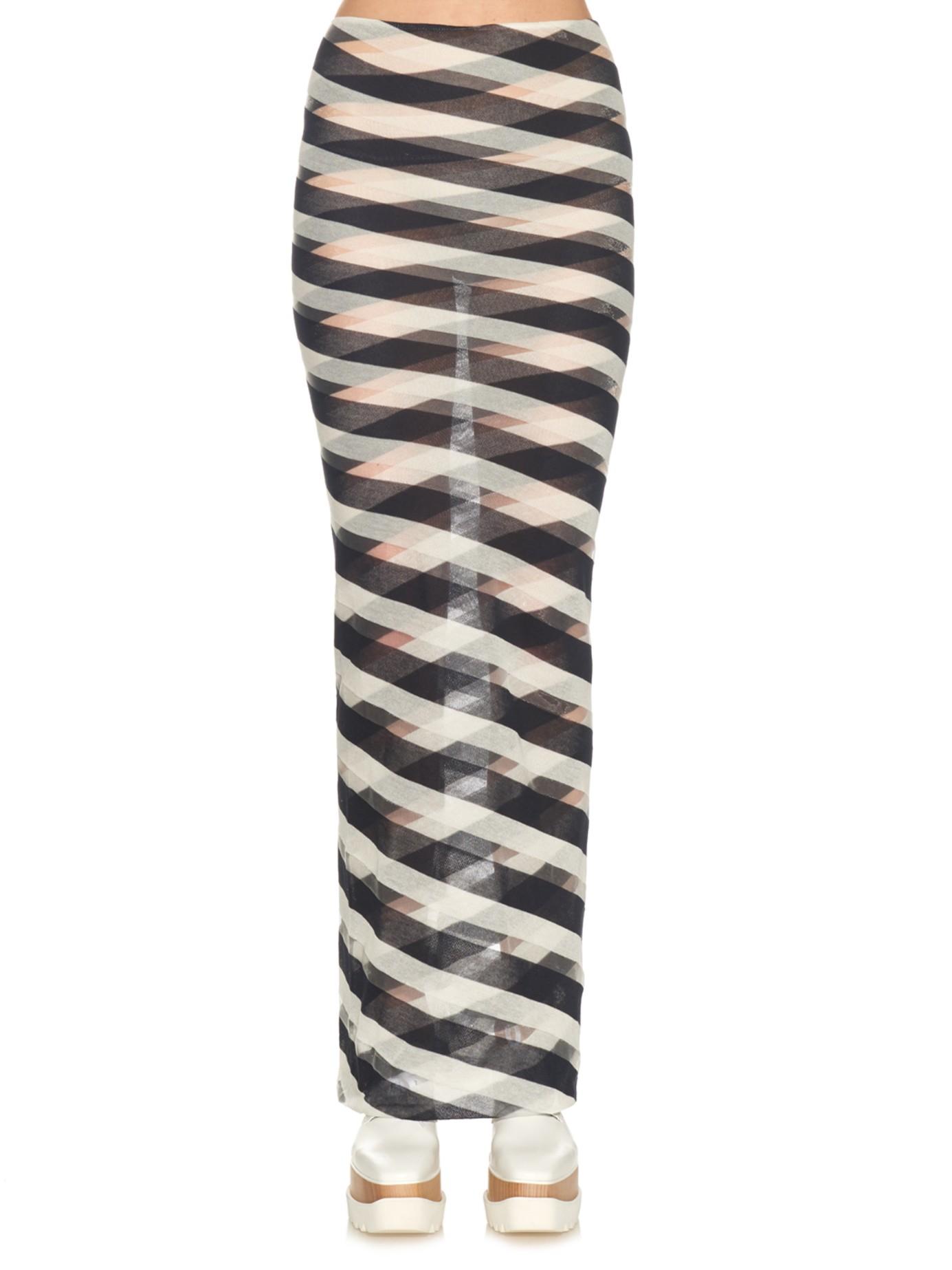 stella mccartney striped sheer knit maxi skirt in blue lyst