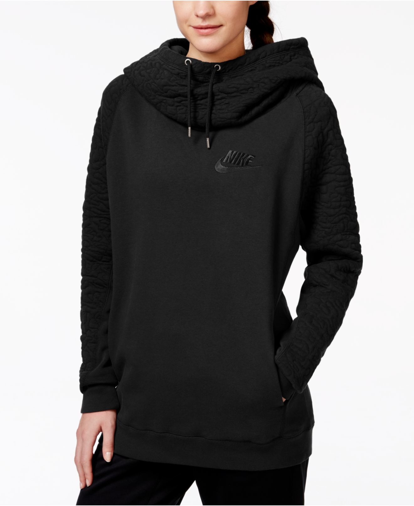 69b552ffed9e Lyst - Nike Rally Quilted Pullover Hoodie in Black