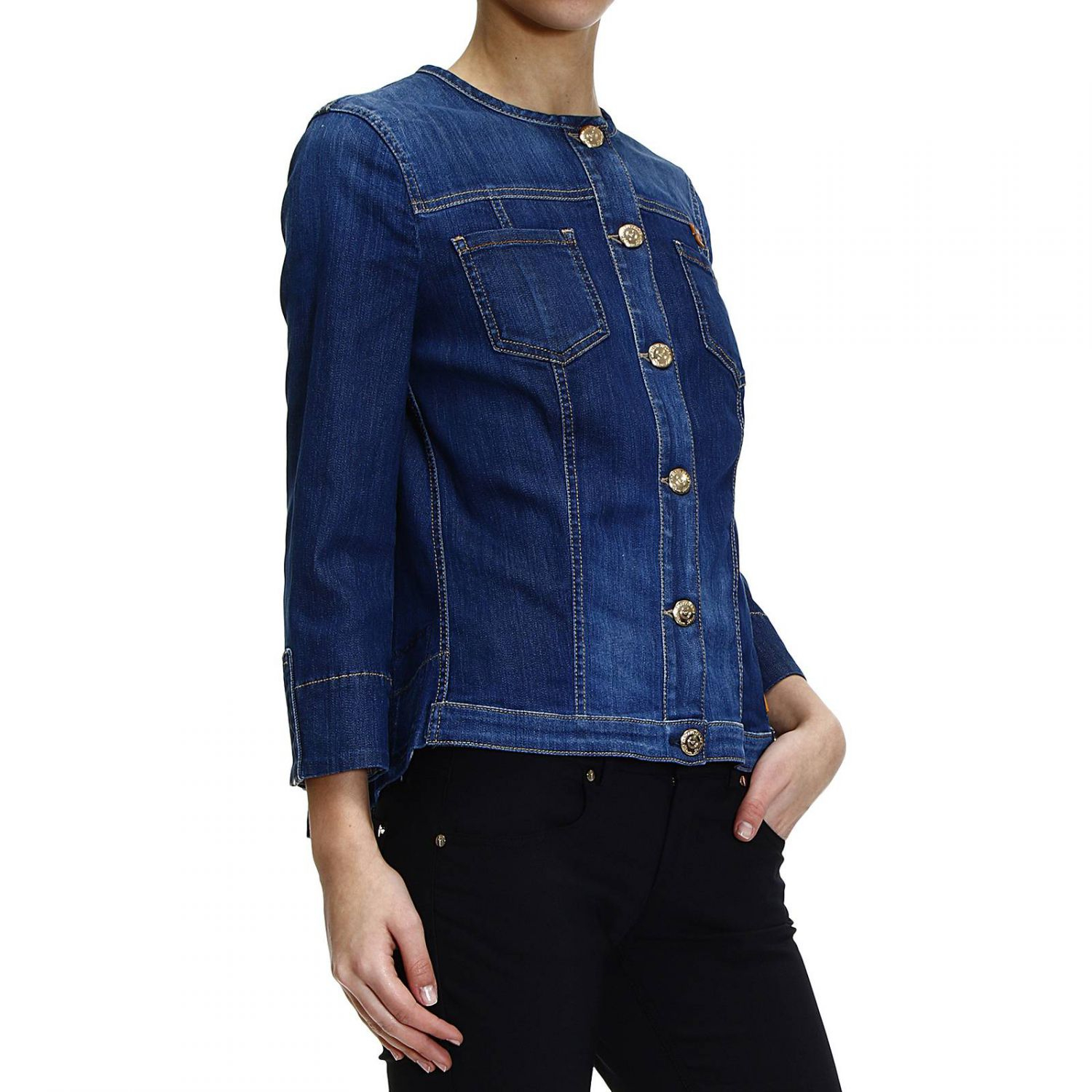 Giorgio Armani Jacket Denim Without Collar In Blue Lyst