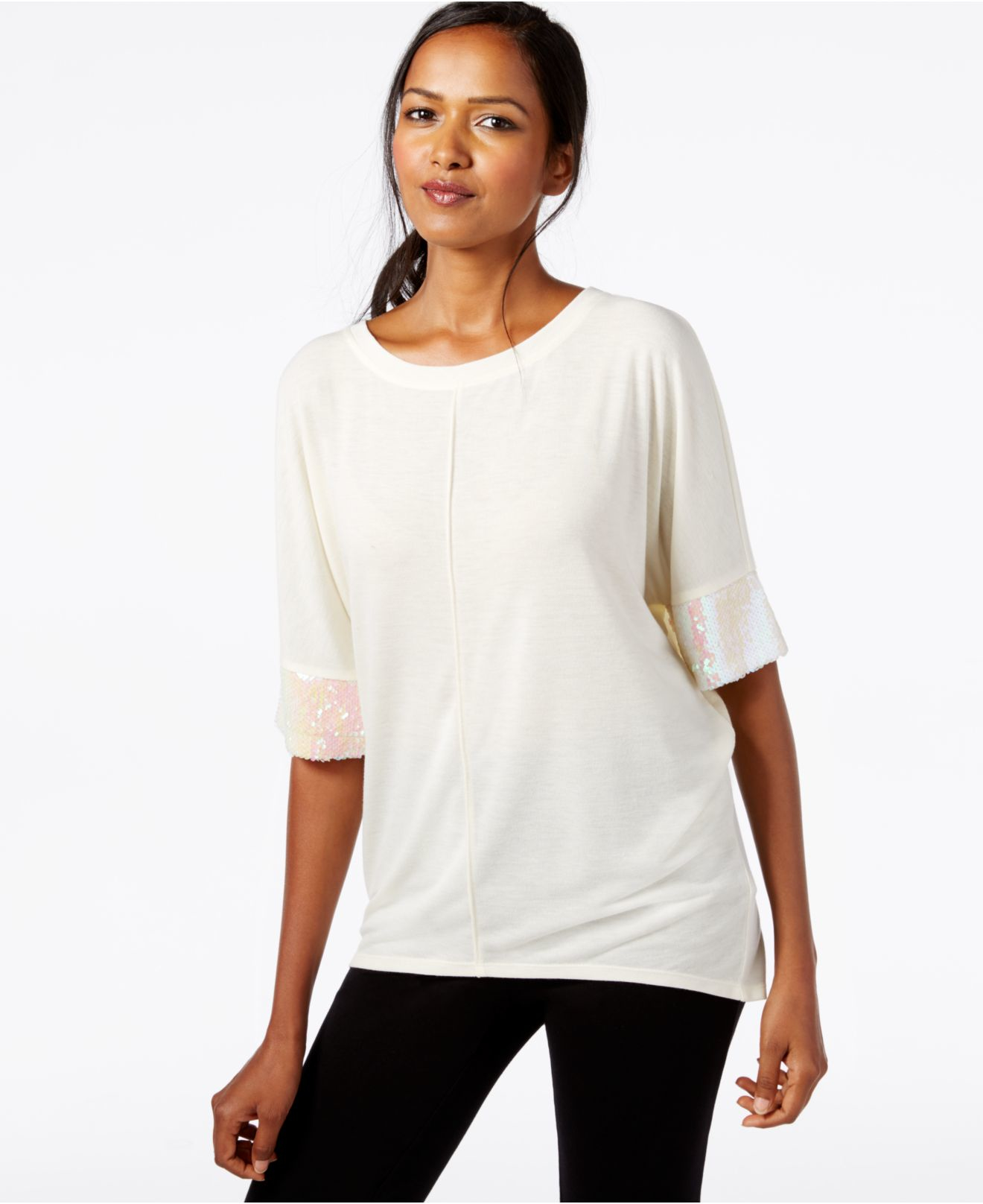 Lyst - Cable & Gauge Dolman-sleeve Sequined Top in White