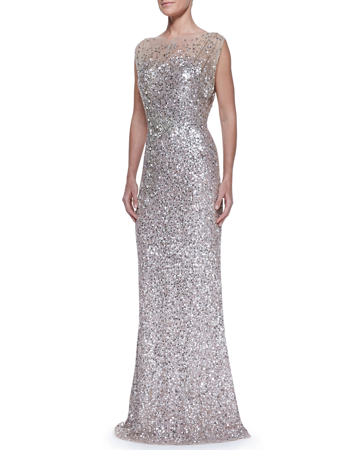packham beaded sequined gown in metallic lyst