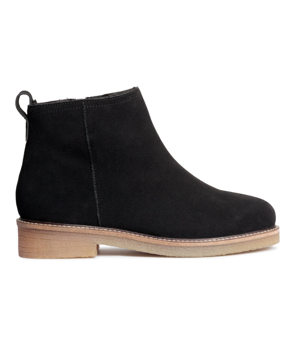 h m lined suede ankle boots in black lyst