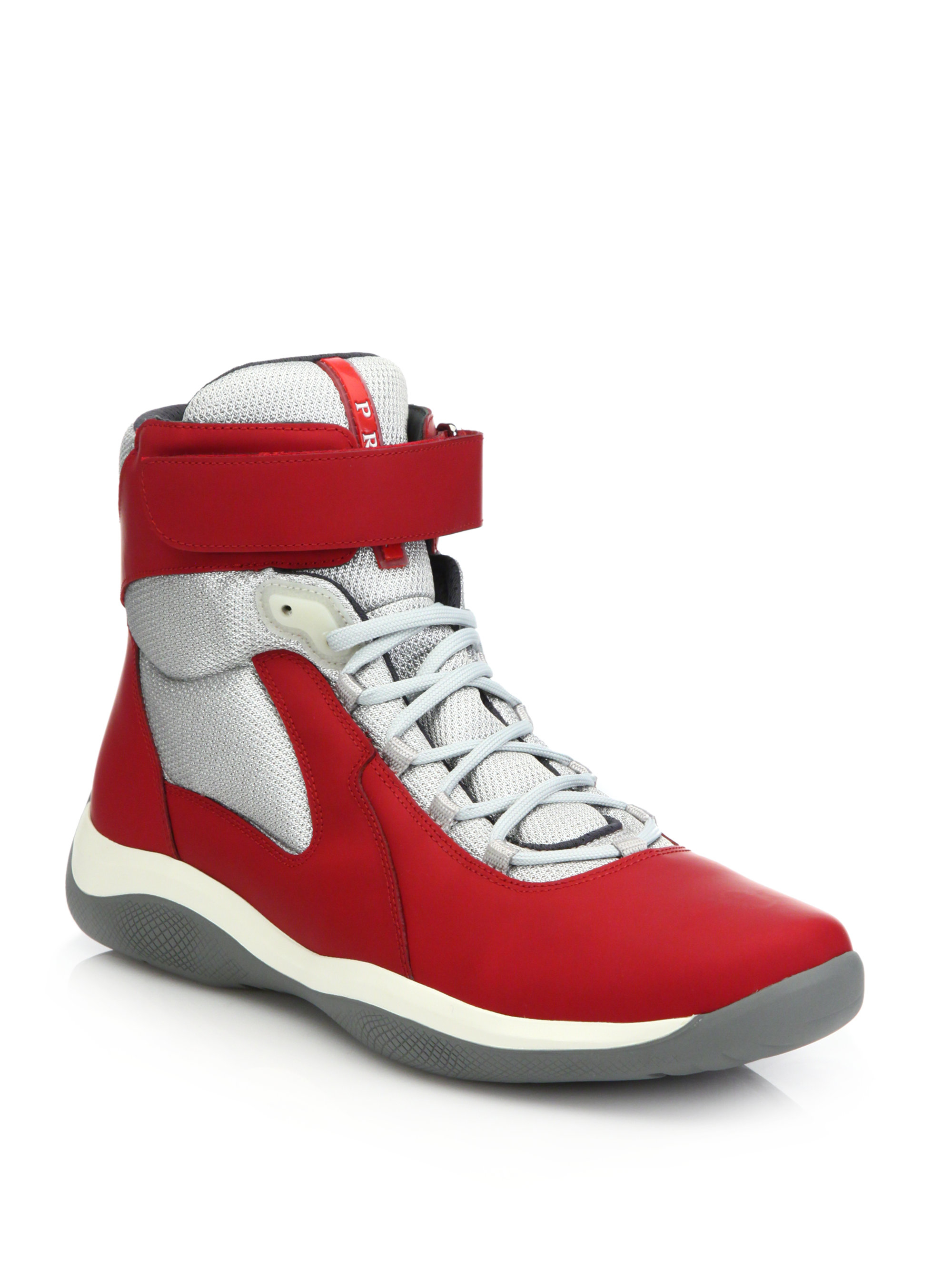 Prada Velcro Strap High Top Sneakers In Red For Men Lyst