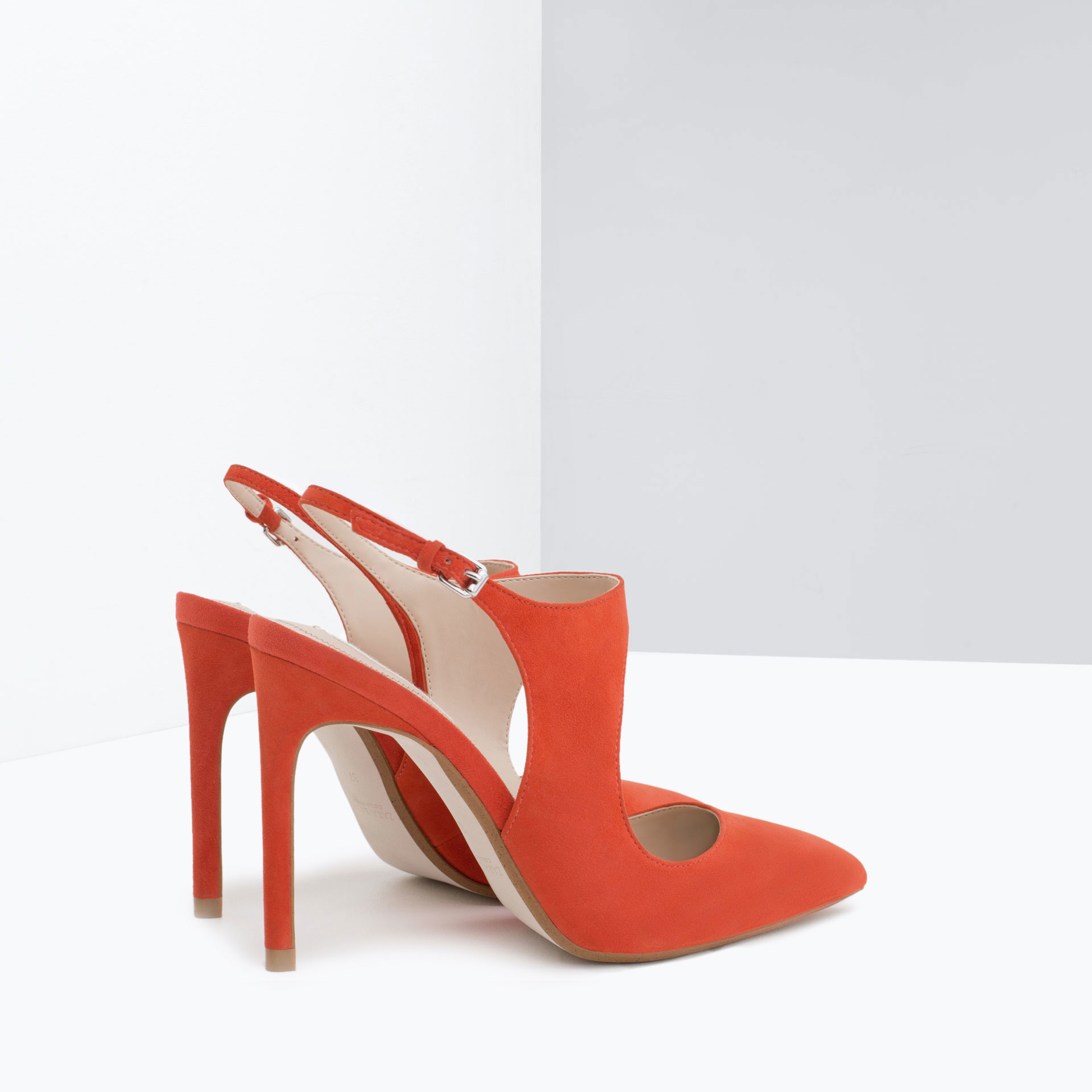 Orange Leather Shoes Heels Boots
