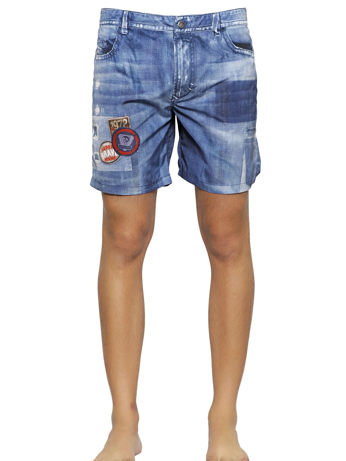 e3728b5f1d DIESEL Denim Printed Nylon Swimming Shorts in Blue for Men - Lyst