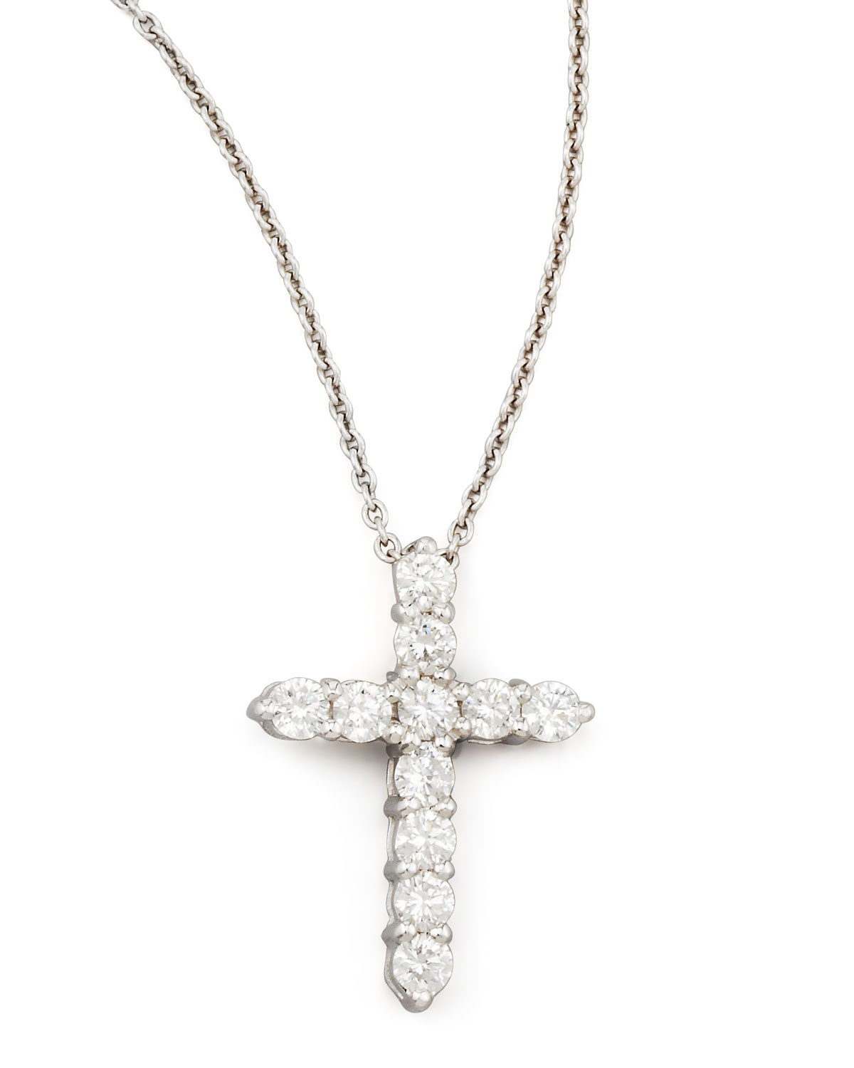 roberto coin 18 white gold diamond cross pendant necklace. Black Bedroom Furniture Sets. Home Design Ideas