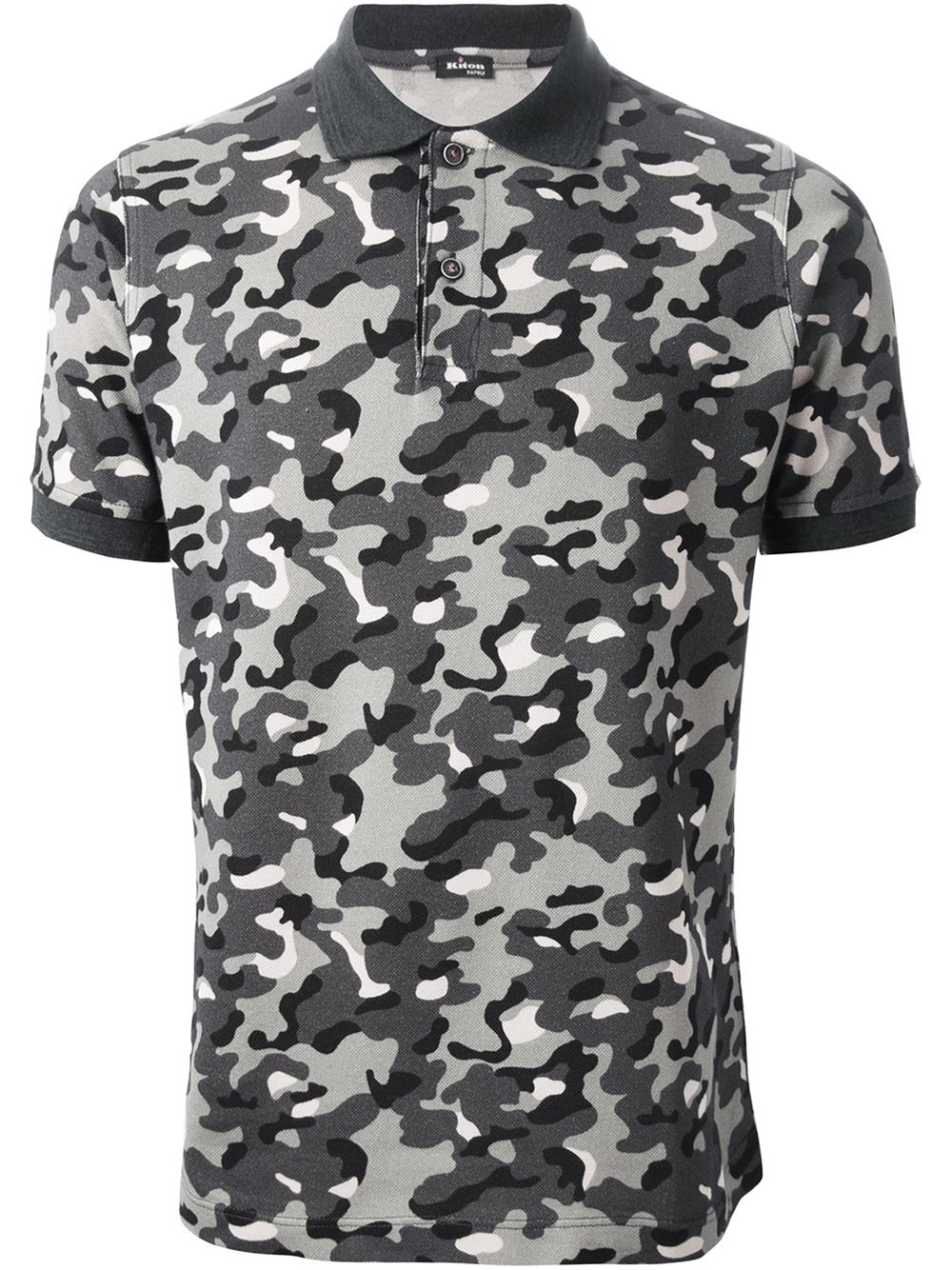 Kiton camouflage print polo shirt in gray for men grey for Camo polo shirts for men