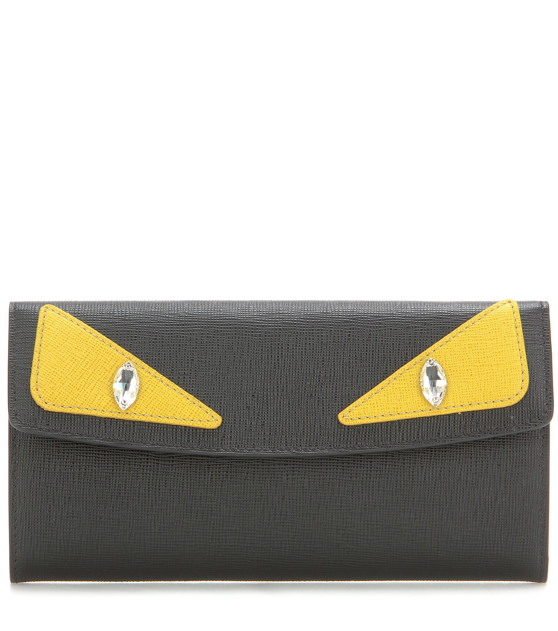 3ba43468cf96 Lyst - Fendi Leather Bug Wallet - Black in Black