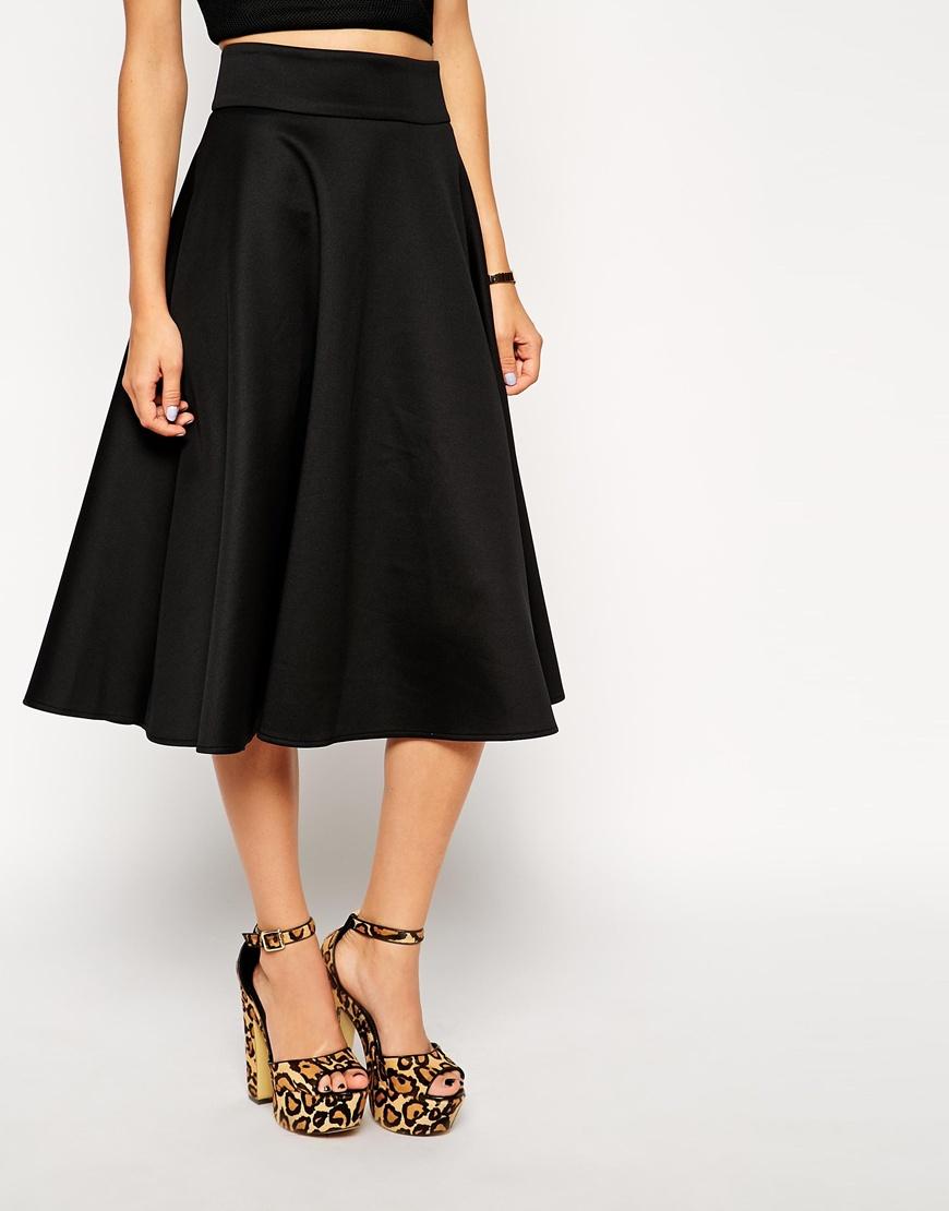 Asos Midi Circle Skirt In Scuba in Black | Lyst