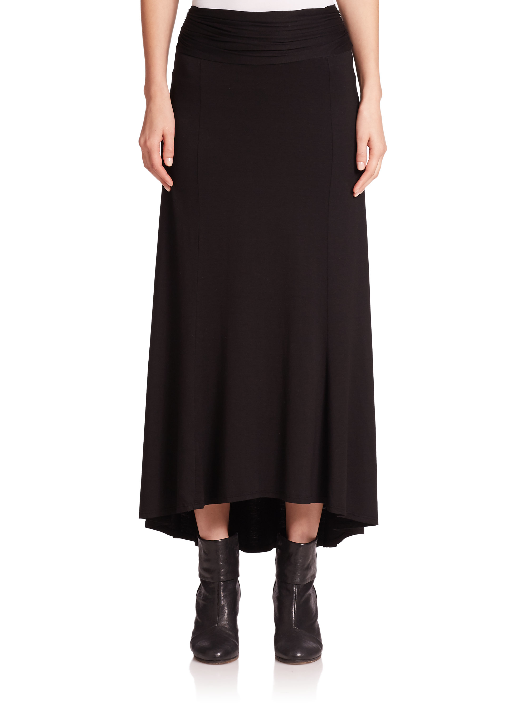 three dots knit hi lo maxi skirt in black lyst