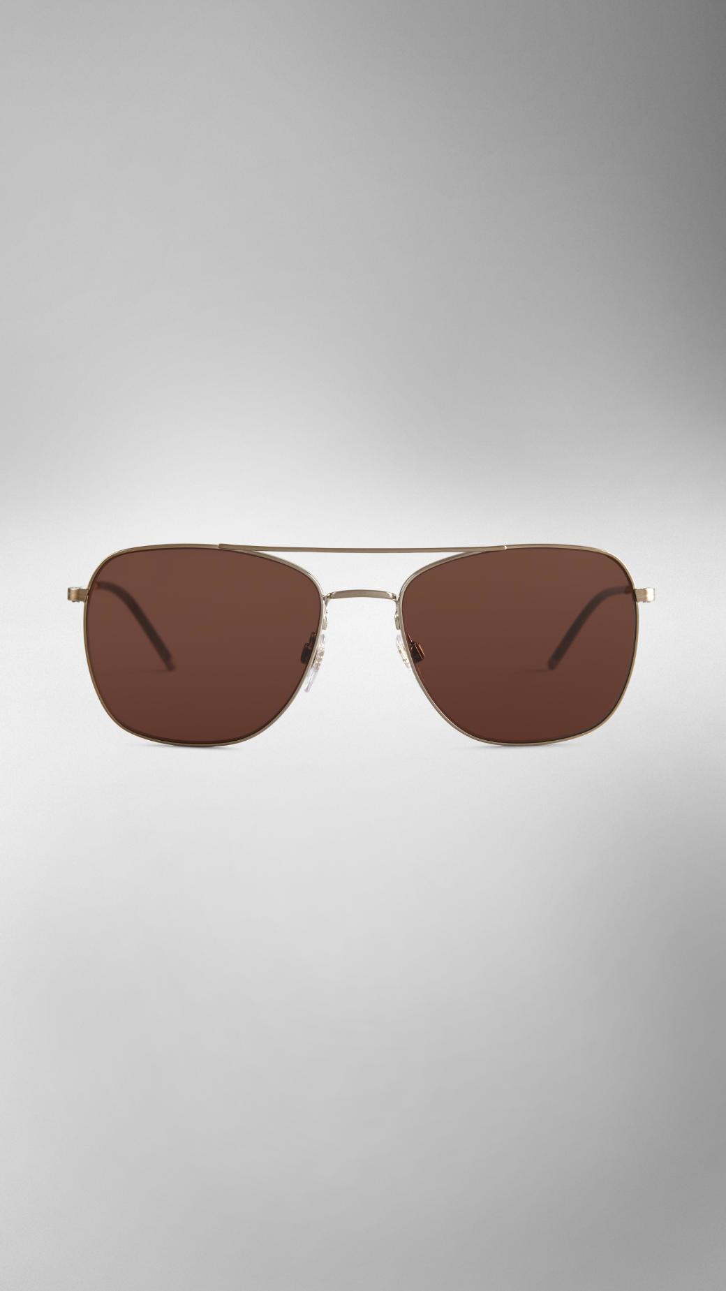 62b8ebadfae Burberry Check Arm Aviator Sunglasses in Brown for Men - Lyst