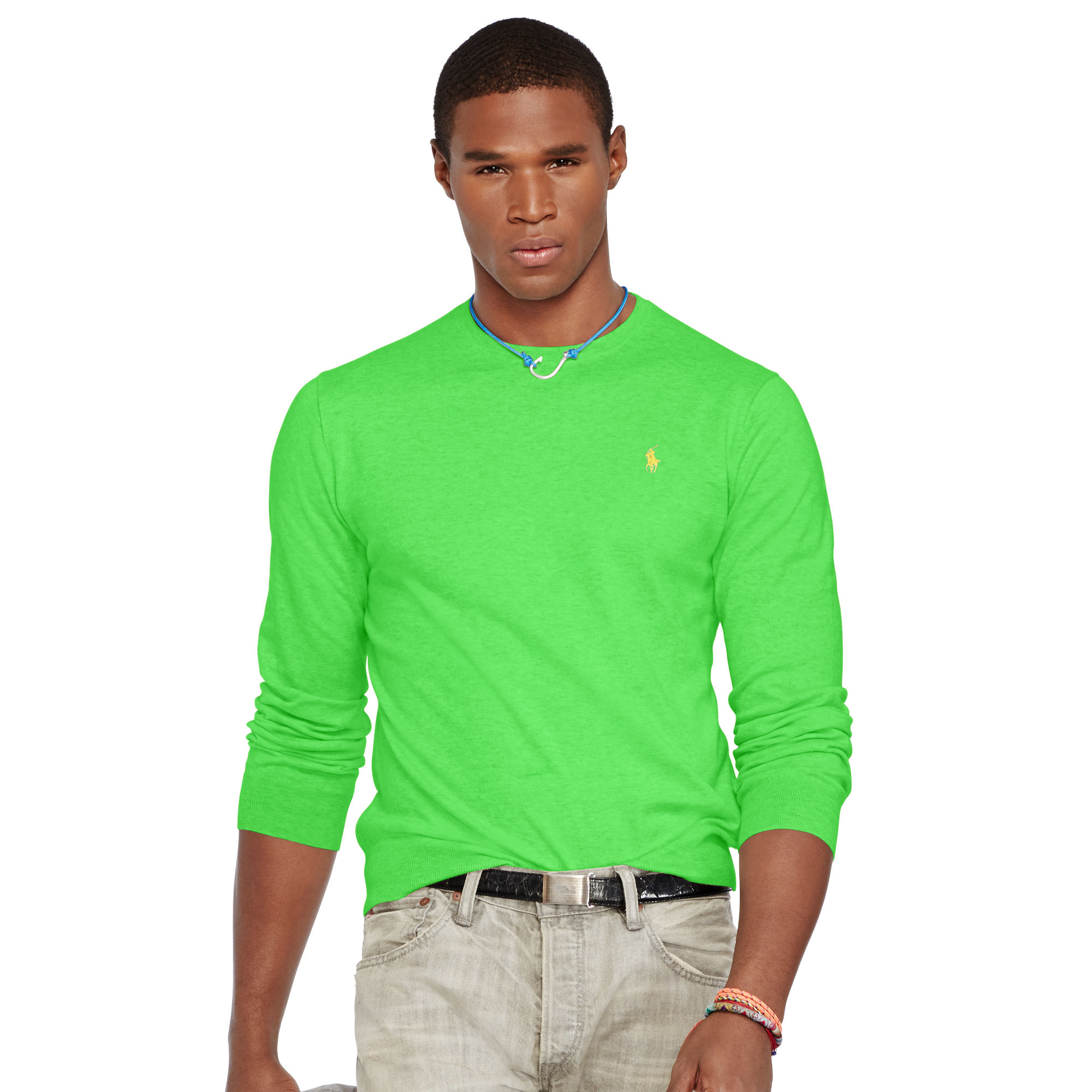 Ralph Lauren Menswear - Ralph Lauren Slim Pima Jumper Green