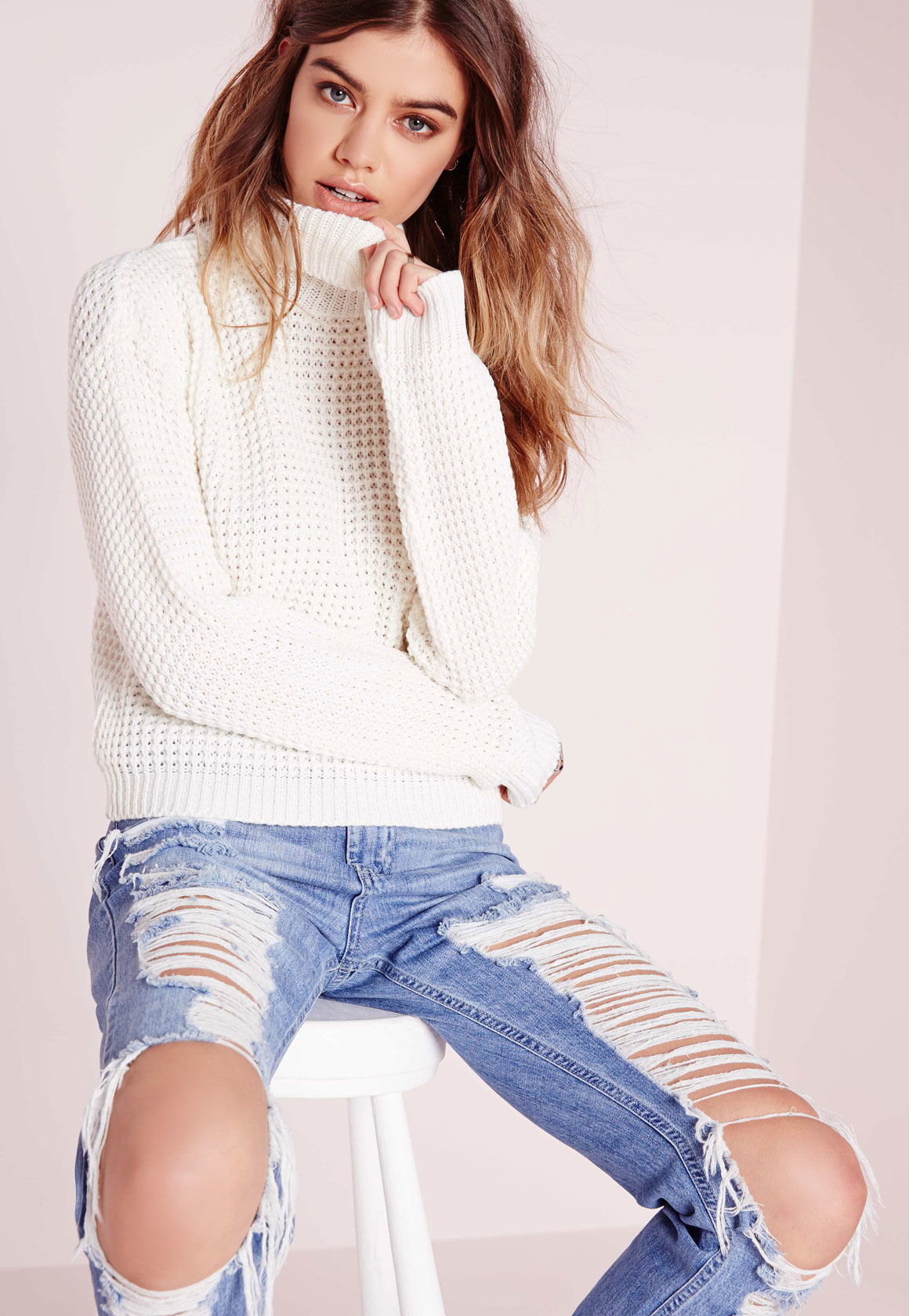 a462eb0da Lyst - Missguided Fisherman Stitch Roll Neck Jumper Cream in White