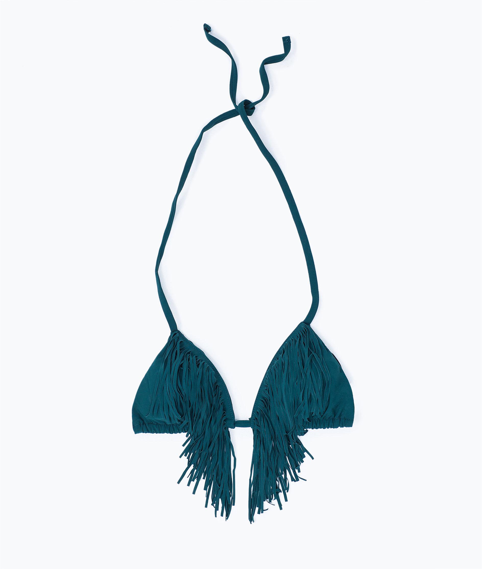 Zara Fringed Bikini Top in Green   Lyst