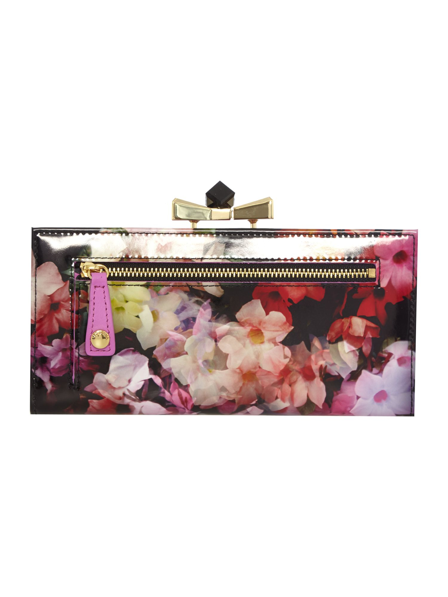 Ted Baker Black And Pink Floral Print Crystal Top Purse In Pink Lyst
