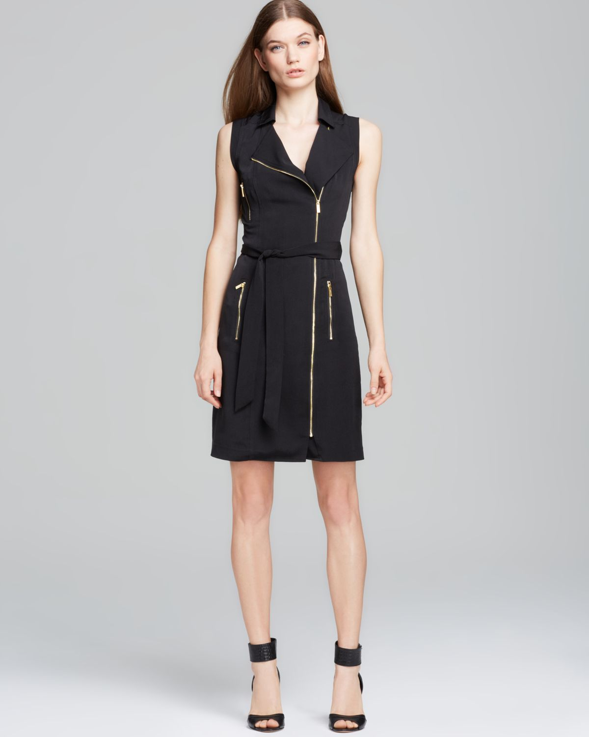 Lyst Calvin Klein Moto Zip Dress In Black