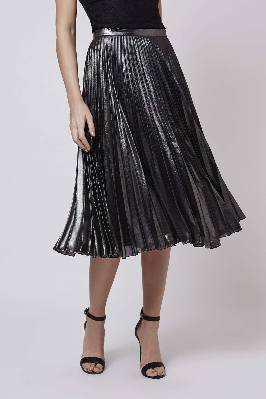topshop metallic pleat midi skirt in silver lyst