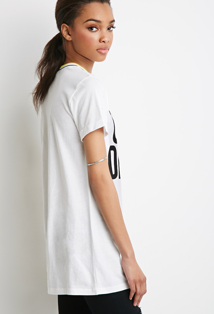 Forever 21 Longline Over Dress Graphic Top in White