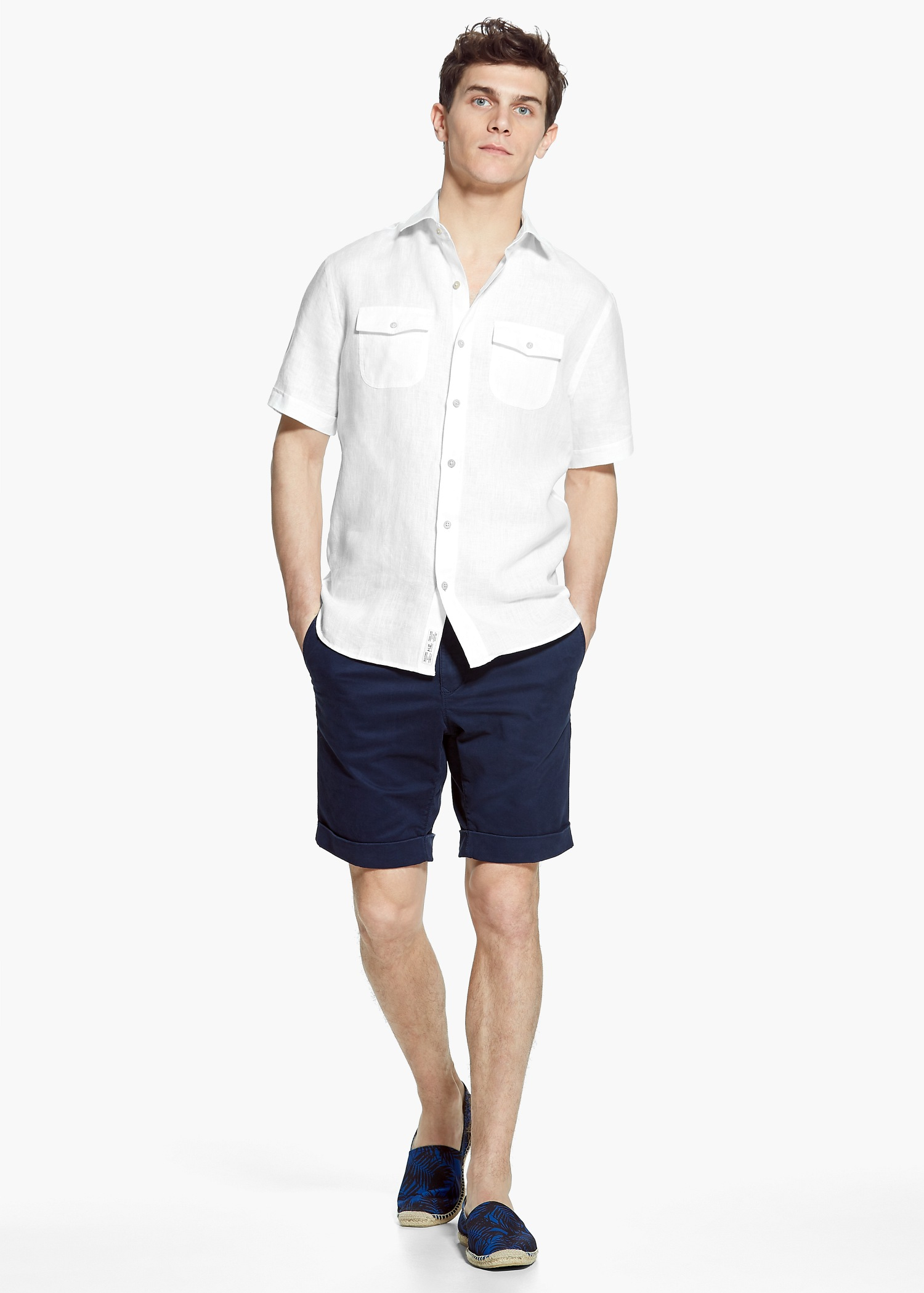 Mango man slim fit short sleeve linen shirt in white for for Fitted short sleeve dress shirts