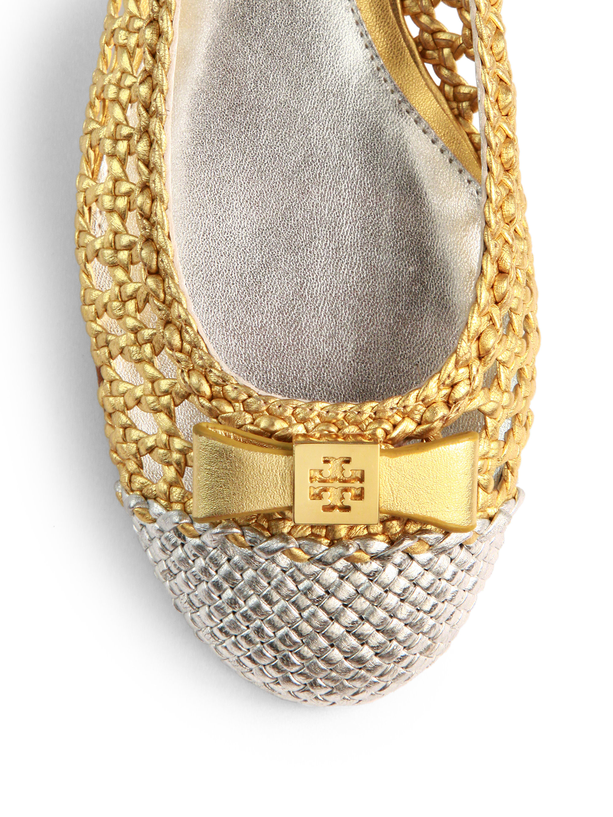 Lyst - Tory Burch Carlyle Woven Metallic Leather Ballet ...