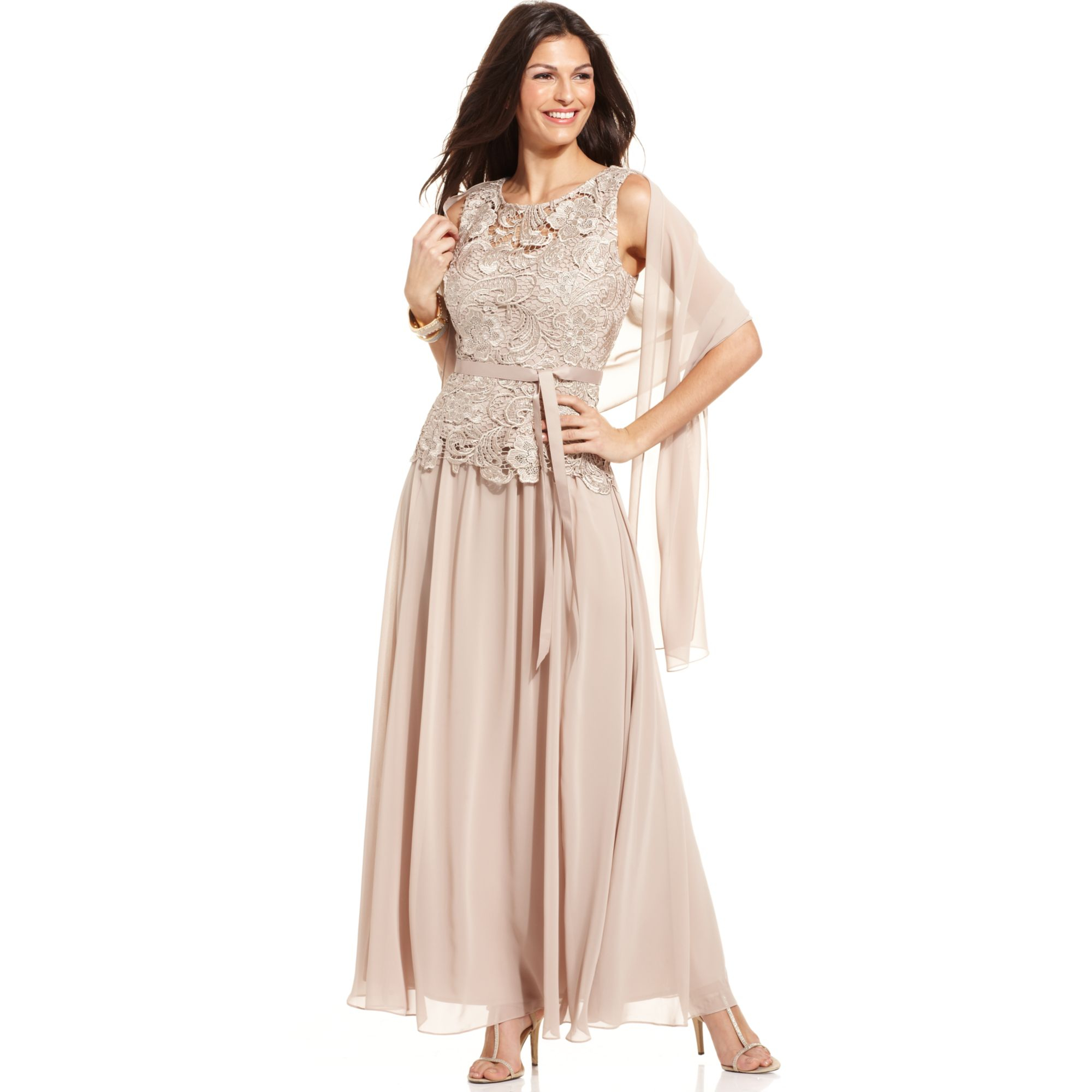 Lyst - Alex Evenings Petite Sleeveless Lace Belted Dress and Shawl ...