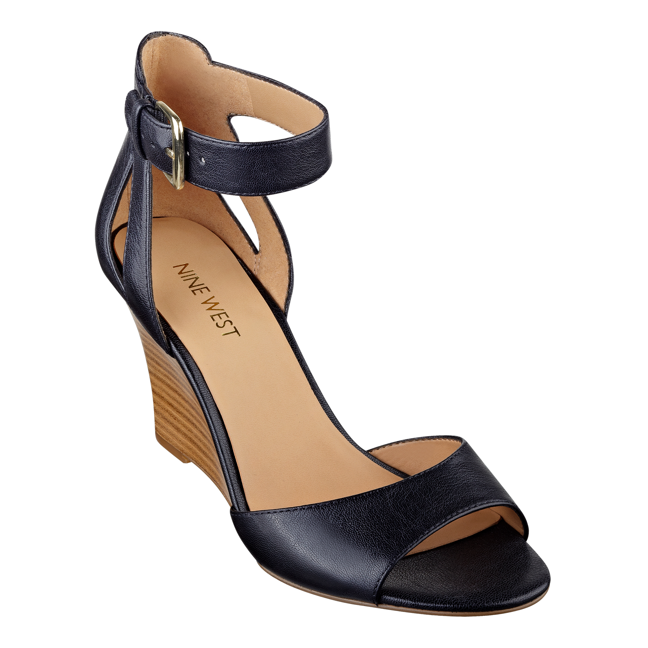 5597017885a6 Lyst - Nine West Floyd Ankle Strap Wedge Sandals in Black