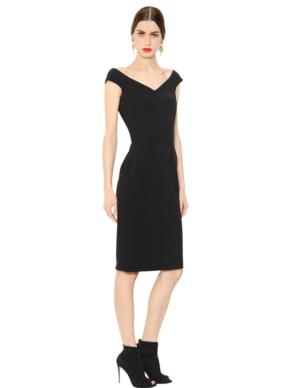 Lyst Dolce Amp Gabbana Off The Shoulder Wool Crepe Dress