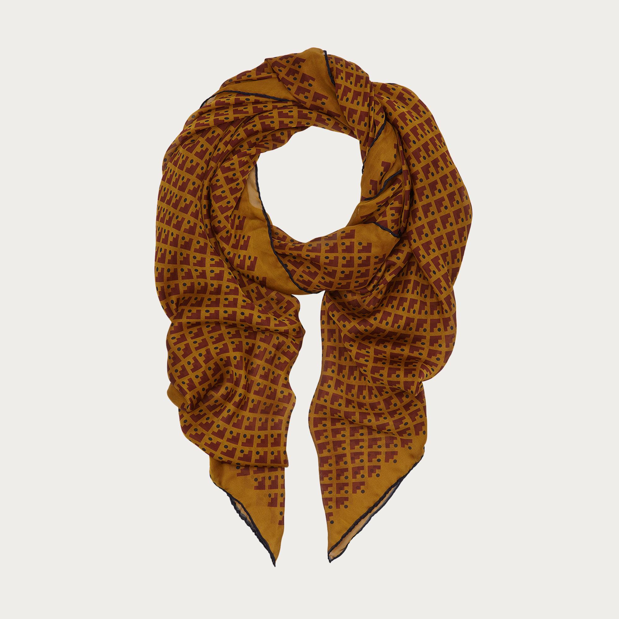 bally silk georgette scarf in brown lyst