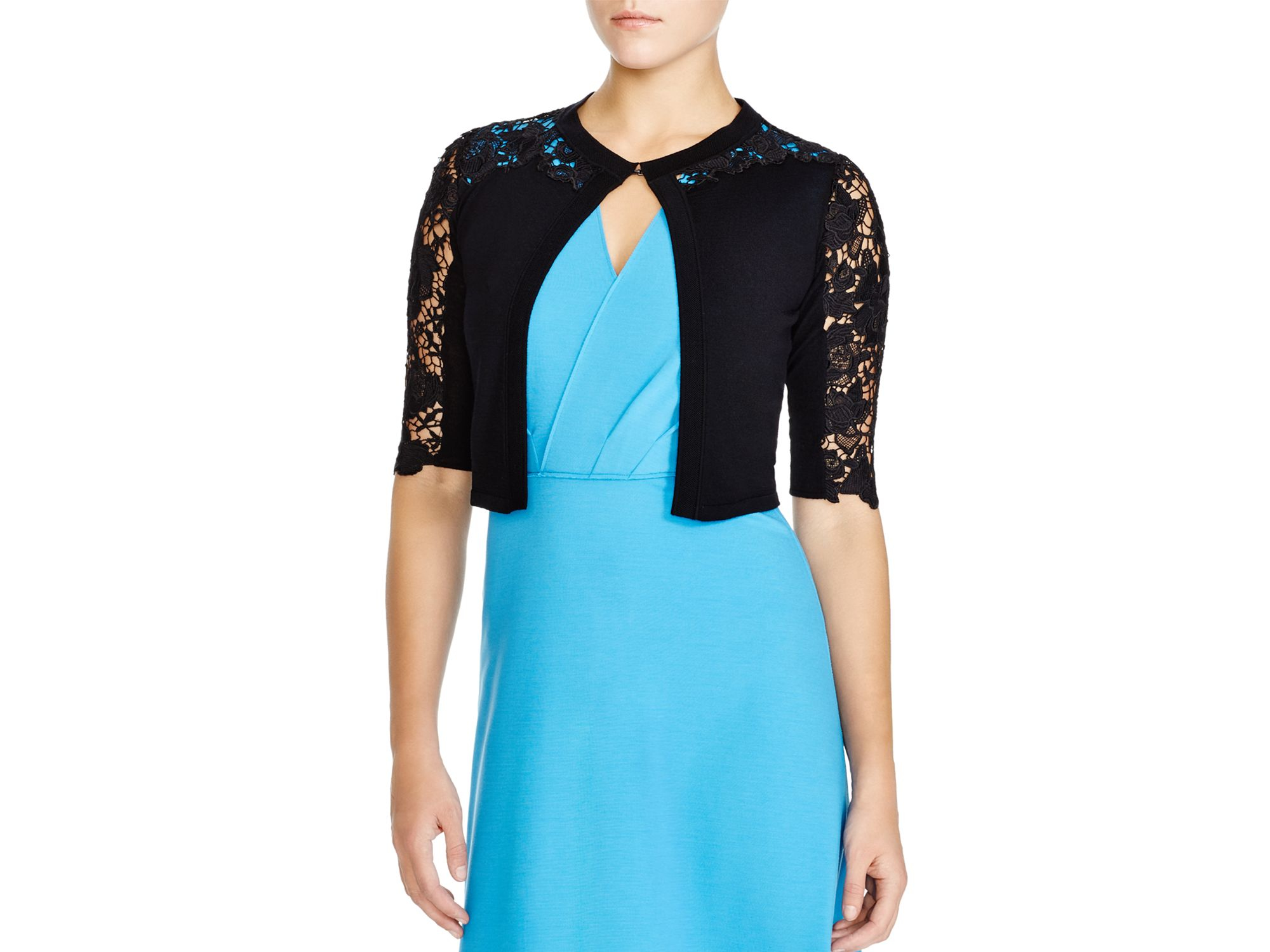 Elie tahari Morocco Lace Inset Crop Cardigan in Black   Lyst