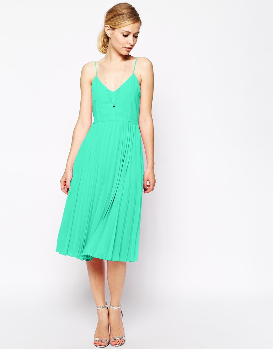 Lyst - Asos Cami Pleated Midi Dress in Green
