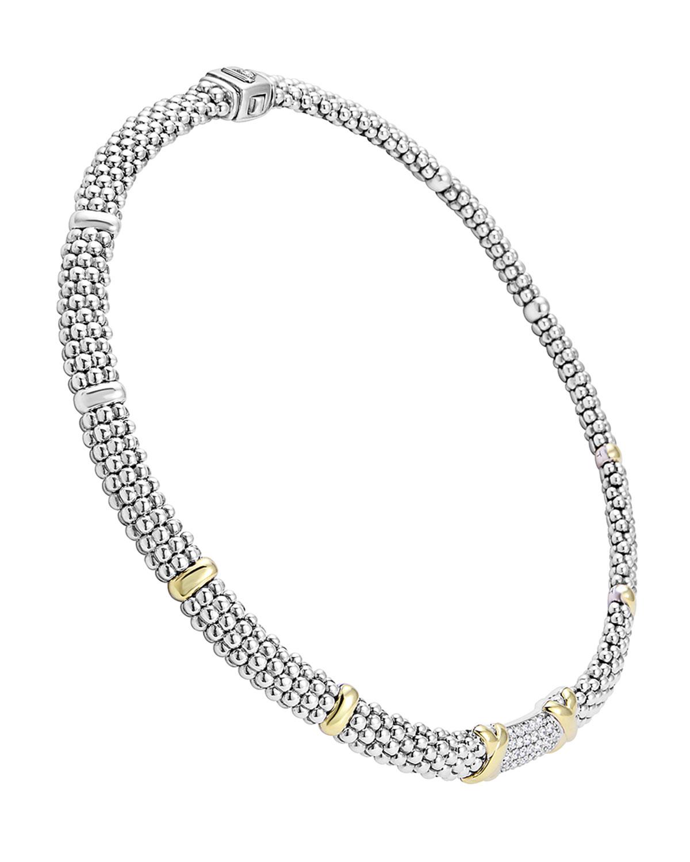 Lagos Caviar Lux Diamond Station Necklace kju16Yvrwt