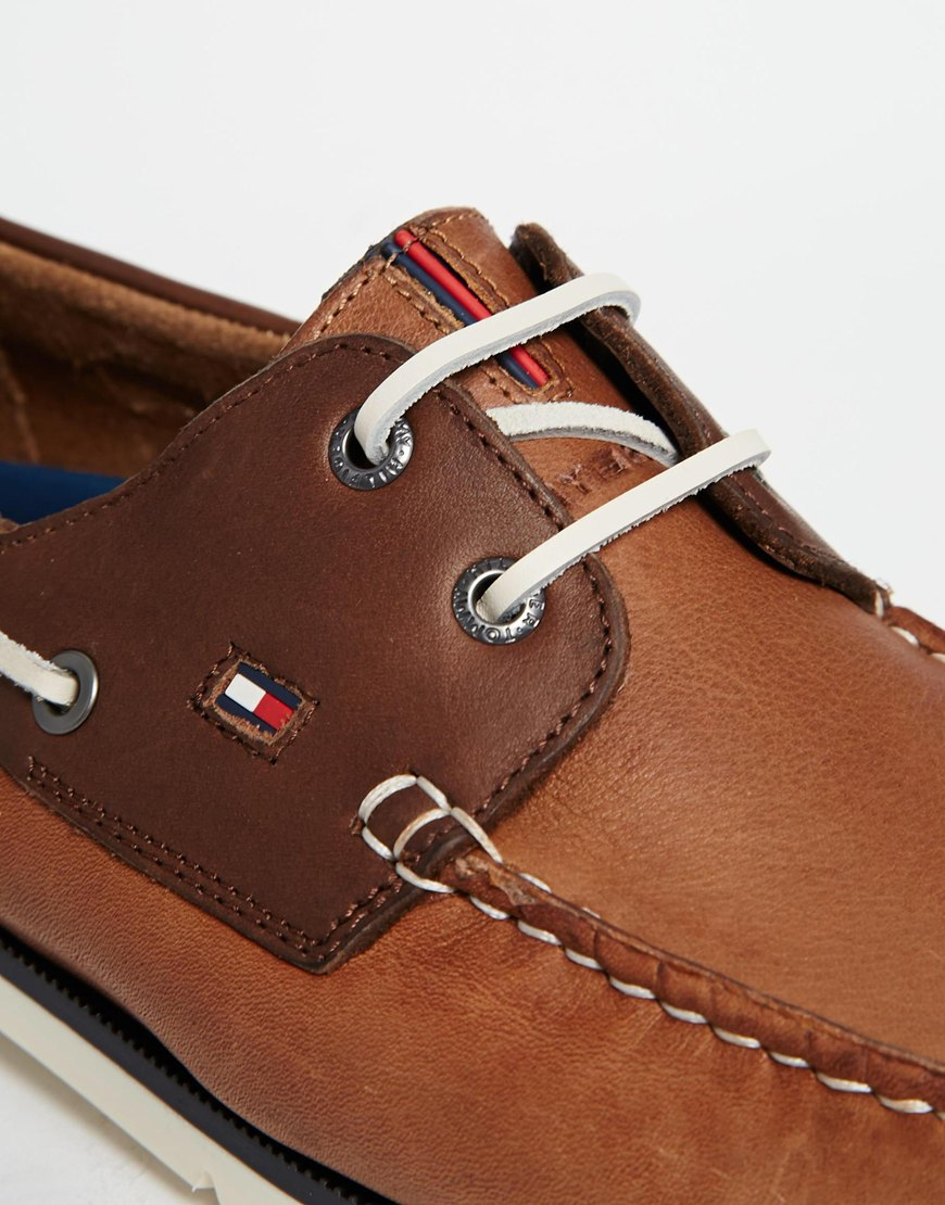 aa75b358e1ed89 Lyst - Tommy Hilfiger Nubuck Leather Boat Shoes in Brown for Men