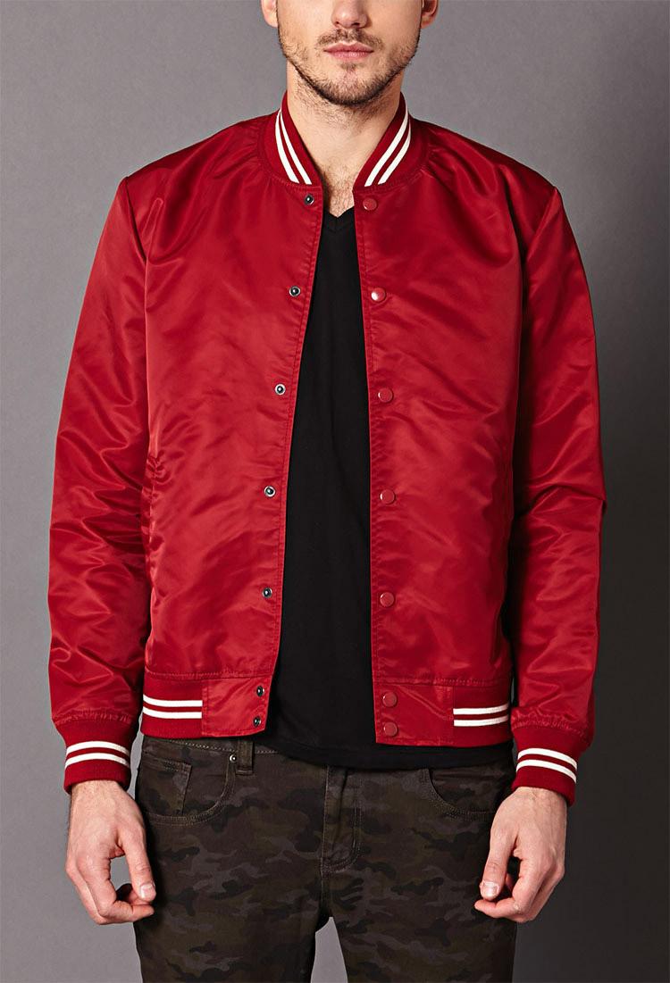 Forever 21 Striped Bomber Jacket In Red For Men Lyst