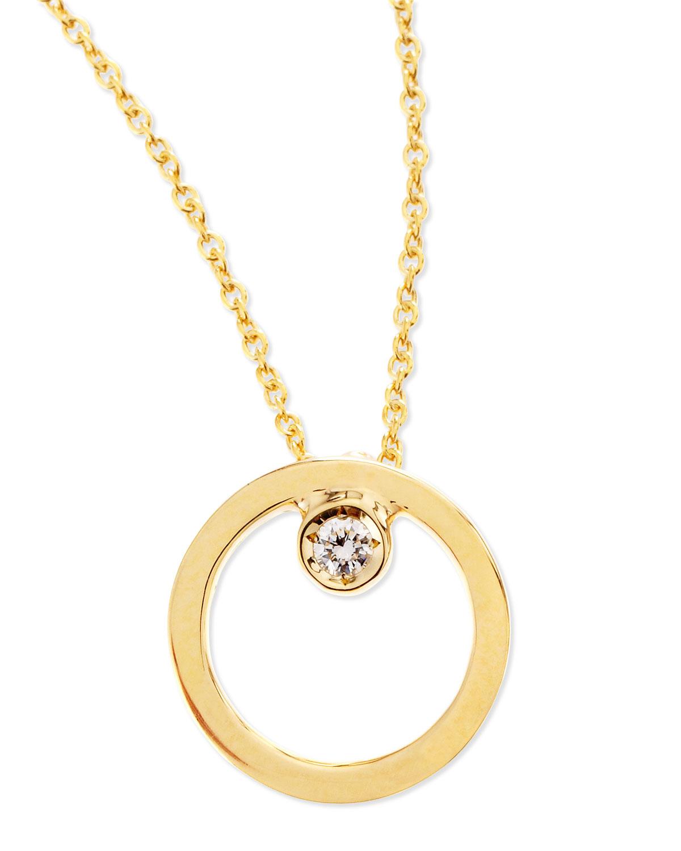 roberto coin 18k yellow gold circle single diamond. Black Bedroom Furniture Sets. Home Design Ideas