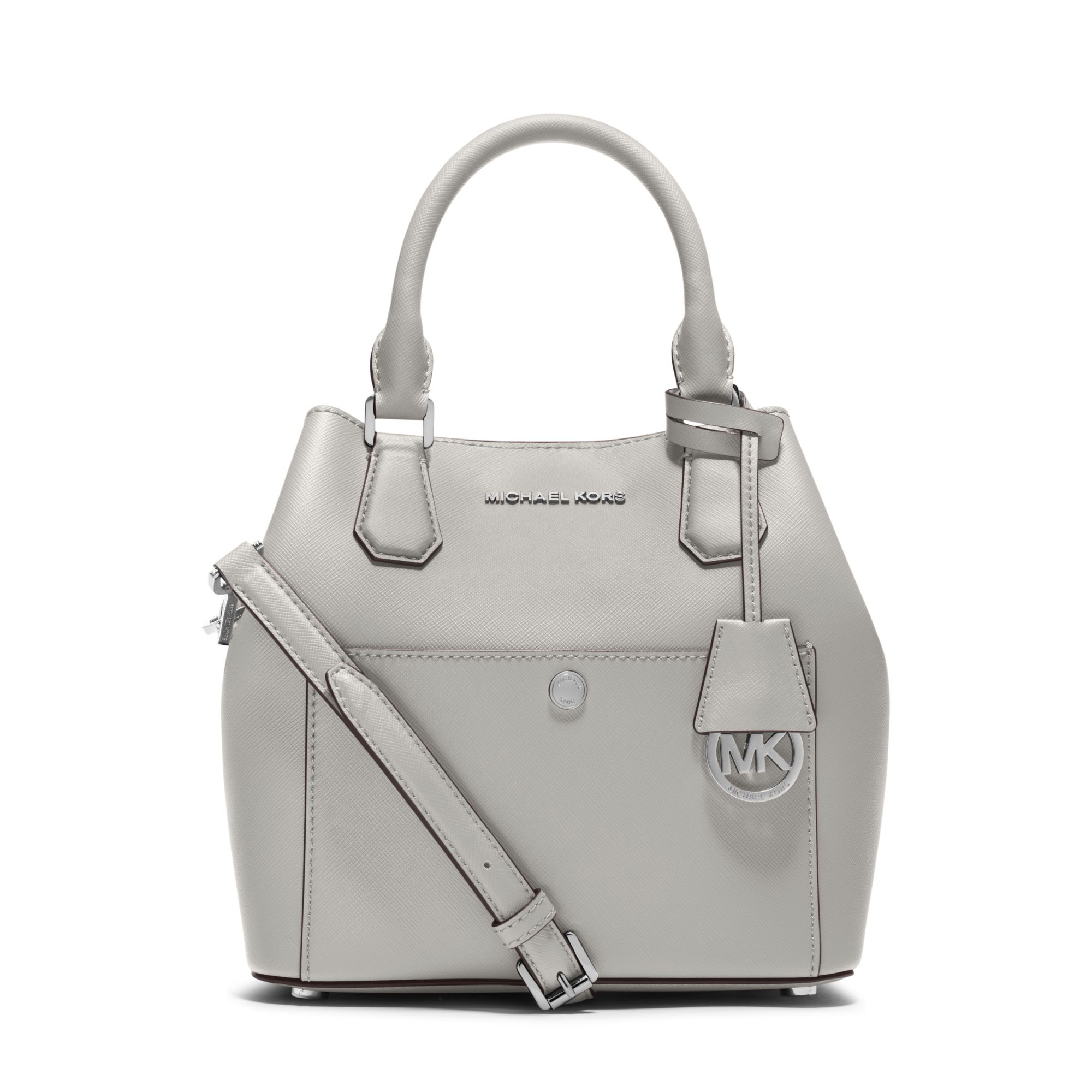 Lyst Michael Kors Greenwich Medium Saffiano Leather Satchel In White Bag Authentic Gallery