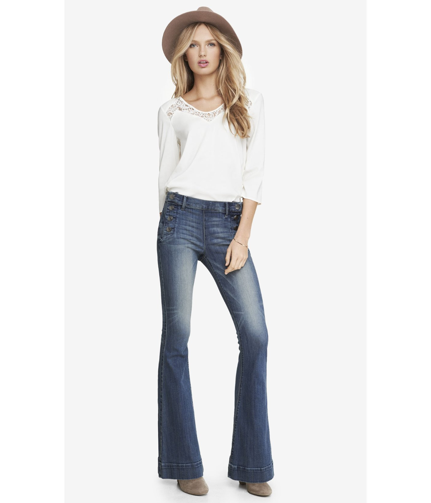 9bc76c3b344 Lyst - Express Medium Wash Mid Rise Bell Flare Sailor Jean in Blue